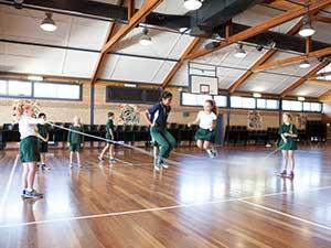 P.E. activities in the school hall